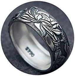 Beydodo Silber 925 Ring für Herren Punk Rock Buddhist Lotus Freundschaftsringe Ringe Männer Silber