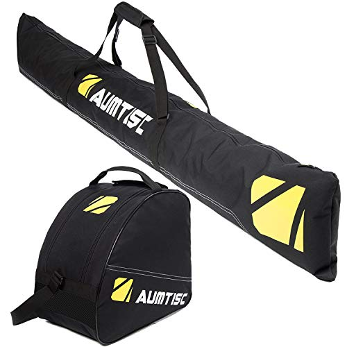 Aumtisc Ski Bag Padded 2 Piece Ski and Boot Bag Combo for 1 Pair of Ski and Boots,Adjustable Length Ski Bag Up to 200cm (Black)
