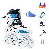 YANGXIAOYU Inline Skates, Full Flash Wheels Inline Skates Set Red Blue Suitable for Men and Women Boys Girls (Color : White, Size : 39 EU/7 US/6 UK/24.5cm JP)