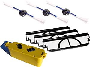 Replacement iRobot Dirt Dog Battery, Side Brush and Filters Replacement - Kit Includes 1 Battery, 3 Side Brushes and 3 Filters