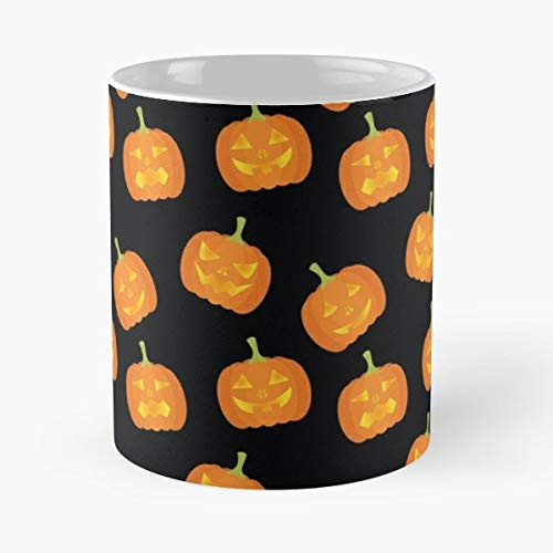Spooky Halloween Pumpkin Pattern - 11 Oz Coffee Mugs Unique Ceramic Novelty Cup, The Best Gift For Halloween. -