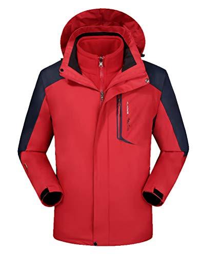 Con De Rojo Y Hombre Mujer Acampada Impermeable 3 Capucha Abrigo xwr6nwpW