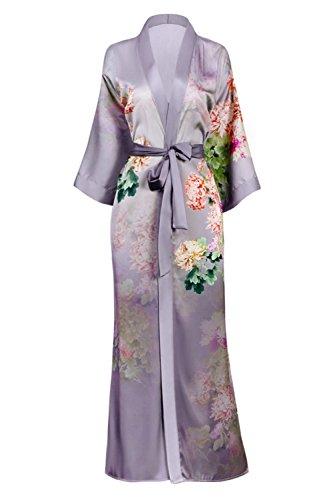 (Old Shanghai Women's Kimono Robe Long - Watercolor Floral, Coral Chrysanthemum- Dusk)