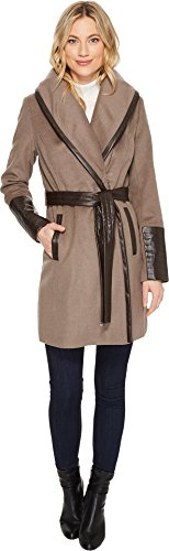 Wool Coat Belted Via (Via Spiga Women's Wide Collar Mix Media Belted Pebble 12)