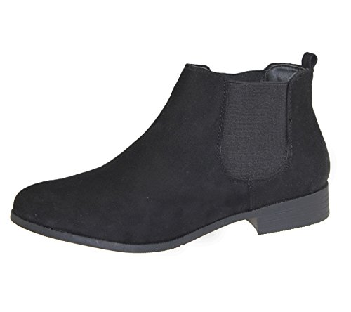 Elasticated Black Casual Shoes Chelsea Womens Ladies Suede Top Boots Riding Size High Ankle xBwnpR4Wq8