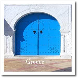 ht_185254_1 Florene - Architecture - Print of Blue Door On Grecian Building - Iron on Heat Transfers - 8x8 Iron on Heat Transfer for White Material
