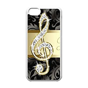 G-Clef Vintage Paper iPhone 5c Cell Phone Case-White CVXEYERTE09081 Plastic Protective Phone Case