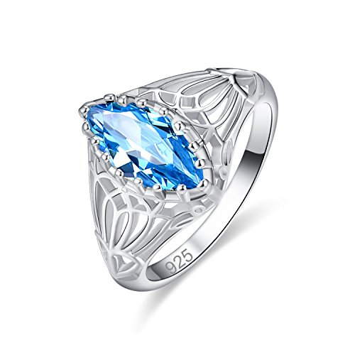 Veunora 925 Sterling Silver 6x12mm Marquise Cut Blue Topaz Filled Ring for Women Size 7