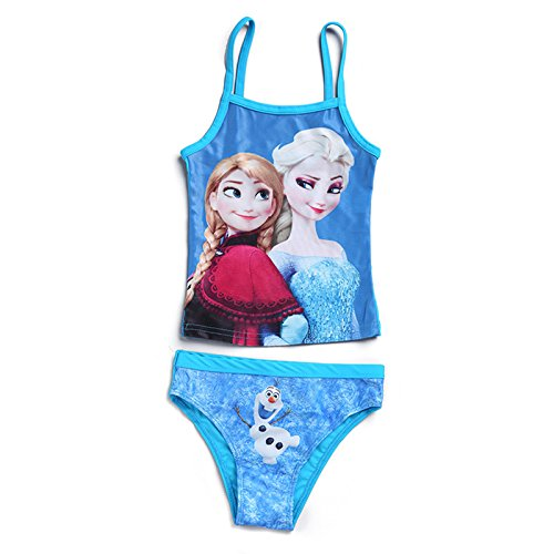 Wengift Girls' Frozen Two Piece Bikini Swimsuit Blue 3-10 Years Old