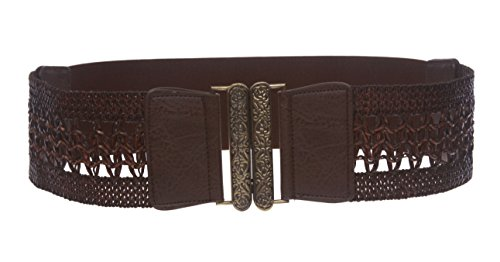 "Women's 3"" (75 mm) Wide High Waist Perforated Braided Stretch Engraving Belt Size: M/L - 32""~36"" Color: Brown"