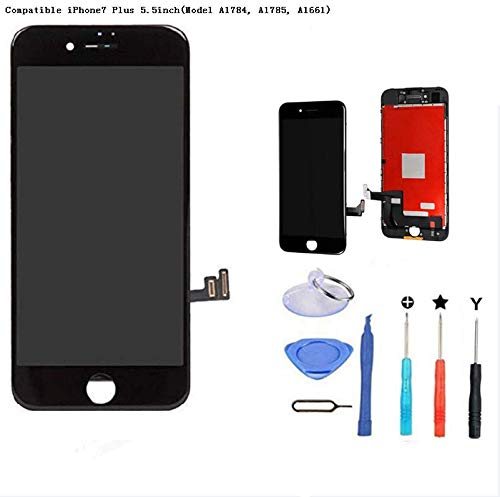 Premium Screen Replacement Compatible iPhone7 4.7inch(Model A1660, A1778, A1779), LCD Complete Repair Kits, LCD Touch Digitizer Display Glass Assembly with Tools (BLACK-7P)