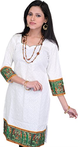 Exotic India Chikan Embroidered Bright-White Kurti with Printed Madhuban - WhiteGarment Size Small