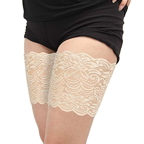 Anti Chafing Thigh Bands Prevent Thigh Chafing 7 Size More Flexibility for New Sexy Lace Leg Bands 1p Beige B((19