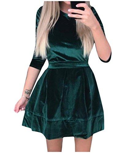 Delle Abito Strappy Da Tunica Comodi Cocktail Verde Pleuche Donne Clubwear Annata q0dE76wq