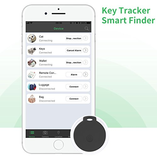 Key Finder, CC-Show Wireless GPS Phone Locator, Smart Wallet Tracker, Anything Anti Lost Alarm with Selfie Shutter/Remote Control for iOS/Android App, Round Crystal (Black) by CC-Show