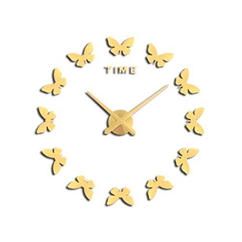 ホーム&時計 天使の蝶の寝室DIYの芸術大きい壁の時計のステッカー3Dアクリルの壁のステッカーのステッカー寝室のキッチンのオフィスの保育園の装飾 ( 色 : ゴールド ) B07BK62SC7ゴールド