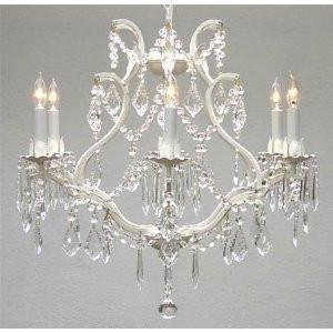 "WHITE WROUGHT IRON CRYSTAL CHANDELIER LIGHTING H 19"" W 20"" SWAG PLUG IN-CHANDELIER W/ 14"