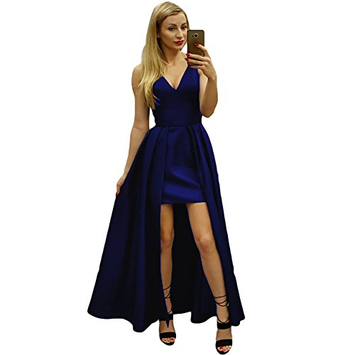 2018 Royal Neck Satin Prom Low Blue Sleeveless Dresses Gowns High Women's V Dreagel Evening FwA7xPqR