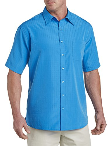 Harbor Bay by DXL Big and Tall Short-Sleeve Microfiber Sport Shirt, Bright Blue - Big Shirts And Men Tall
