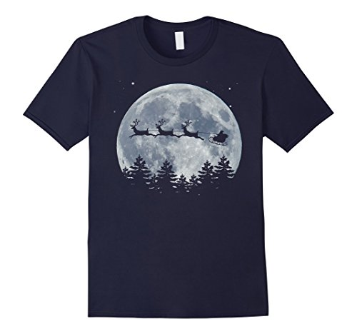 Mens Christmas Santa Flying Reindeer Sleigh Gift T-Shirt Large Navy
