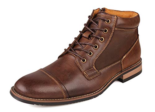 Kunsto Men's Genuine Leather Oxfords Dress Ankle Boots with Zipper Dark Brown New Size 12