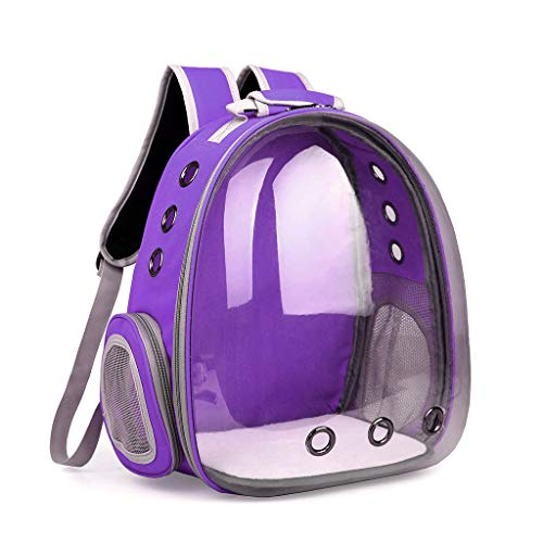 - Yeahii Breathable Transparent Space Capsule Pet Cat Puppy Travel Space Backpack Carrier Bag (Purple)