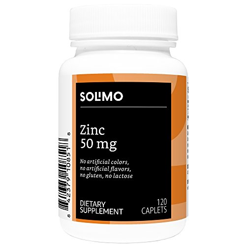 (Amazon Brand - Solimo Zinc 50mg, 120 Caplets, Four Month Supply)