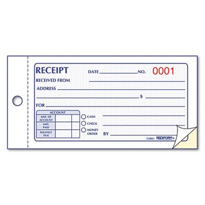 Small Money Receipt Book, 5 x 2 3/4, Carbonless Duplicate, 50 Sets/Book ()