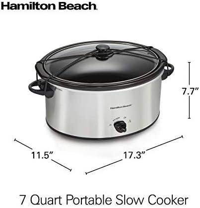 Hamilton Beach 7 Qt. Portable Slow Cooker Serves 8+, Dishwasher Safe Crock, Lid Latch Strap for Travel, Brushed Silver (33176), 7 Quart Salted Salad