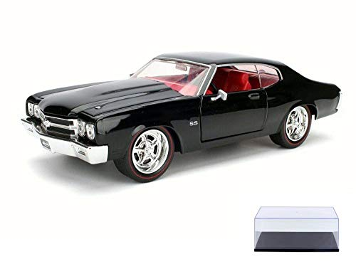 Diecast Car & Display Case Package - 1970 Chevy Chevelle SS, Black - Jada 97828 - 1/24 Scale Diecast Model Toy Car w/Display Case (1970 Chevy)