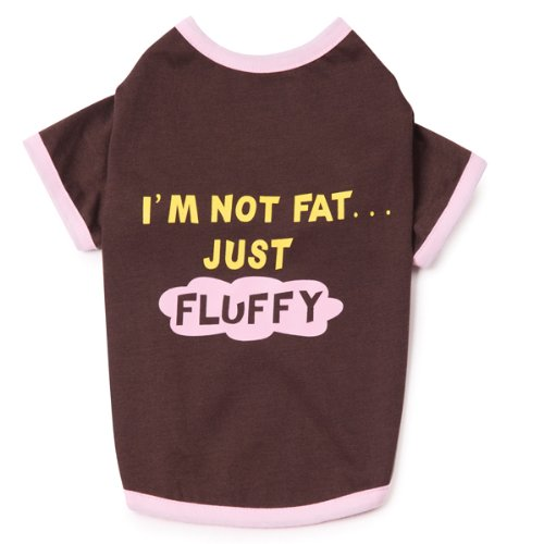 Casual Canine 12-Inch Polyester and Cotton I'm Not Fat Just Fluffy Dog Tee, Small, Chocolate