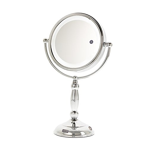Danielle 10X Magnification LED Lighted Sensor Vanity Mirror with 3 Settings, Chrome by Danielle