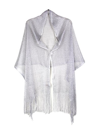 Mesh Metallic Evening Bag (Women's Glitter Metallic Mesh Wrap Shawl Evening Party Scarf(484-Silver))