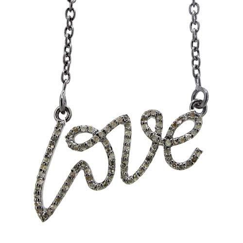 Pave Diamond Script Love Pendant