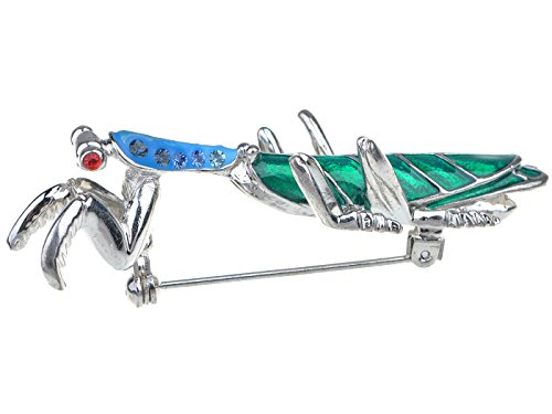Alilang Silvery Tone Ombre Blue Crystal Rhinestone Long Praying Mantis Insect Bug Brooch Pin -