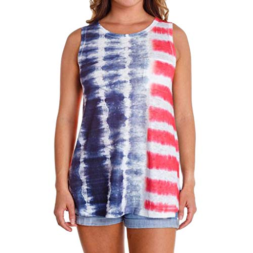 Women's Sexy Tops 2019 Fashion,YEZIJIN Womens Sleeveless Vest Patriotic Stripes Tie Dyed American Flag Print Tank Top - Flag Polyester Dyed