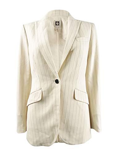 Anne Klein Womens Long Pinstripe One-Button Blazer Beige 16