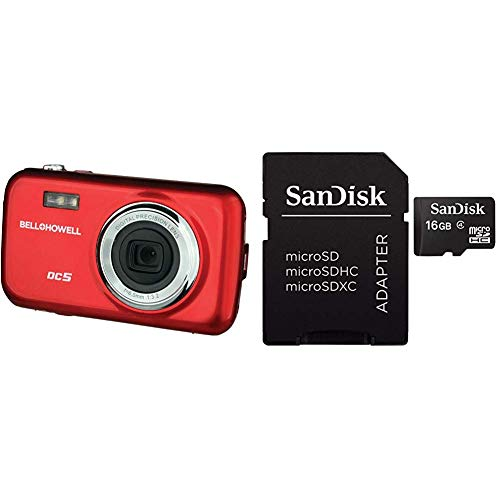 Bell+Howell DC5-R 5MP Digital Camera with 1.8-Inch LCD (Red) & SanDisk Mobile Class4 MicroSDHC Flash Memory Card- SDSDQM-B35A with Adapter 16GB