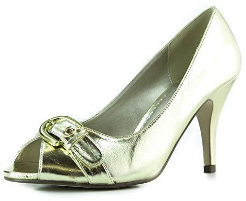 Womens Blossom Collection Eko-13 Peep Toe Pumps Fashion Shoes Gold lL0CZSsj4