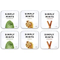 Simply Mints Natural Breath Mints | Variety Pack - Peppermint, Ginger, Cinnamon | Pack of Six (270 Pieces Total) | Plant…