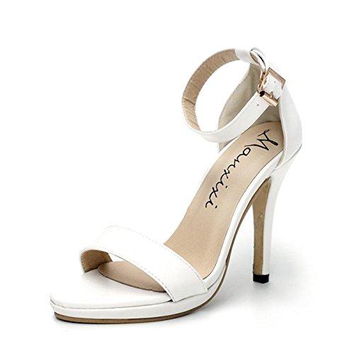 LvYuan-mxx Sandalias de las mujeres / verano de la primavera / tobillo ocasional correa leatherette / talón de estilete punta toe / hebilla / oficina y carrera de vestir / tacones altos , 39 , black 38-WHITE