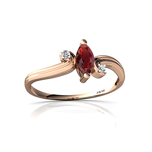 14kt Gold Garnet and Diamond 6x3mm Marquise Ocean Waves Ring
