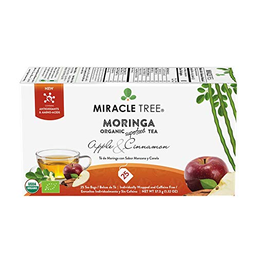 - Miracle Tree - Organic Moringa Superfood Tea, 25 Individually Sealed Tea Bags, Apple & Cinnamon