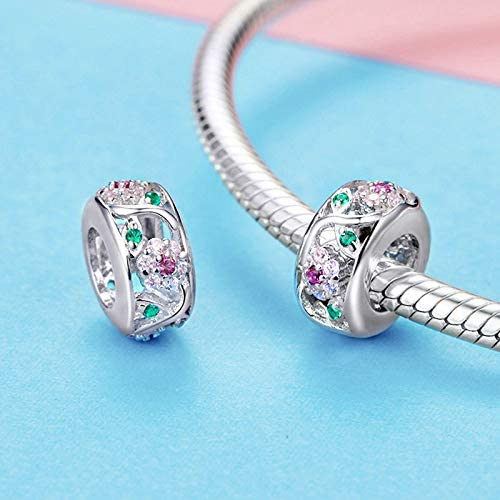 The Kiss Flower Tree Leaves Dazzling CZ Spacer 925 Sterling Silver Bead Fits European Charm Bracelet