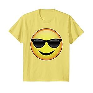 Kids HD Emoji Sunglasses Face Shirt - Emoticon Tee - Cool Emotag 12 Lemon