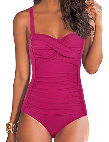 (Hilor Women's One Piece Swimsuits Front Twist Bathing Suits Tummy Control Swimwear Retro Inspired Monokini Rose Red 12)