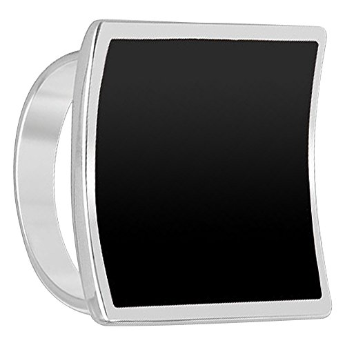 (925 Sterling Silver Black Onyx Gemstone 19mm Square Ring Size 5.5)