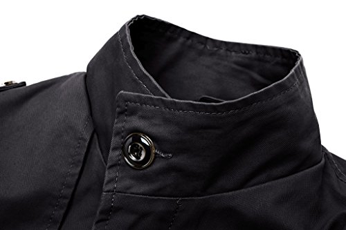 Wantdo Men's Cotton Stand Collar Windbreaker Jacket US Medium Slim Black