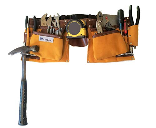 R Dawg's 11 Pocket Heavy Duty Leather Tool Belt With Two Steel Hammer Loops -