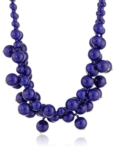 (Kenneth Jay Lane 3 Row Lapis Cluster Drops Gold Clasp Necklace, 19
